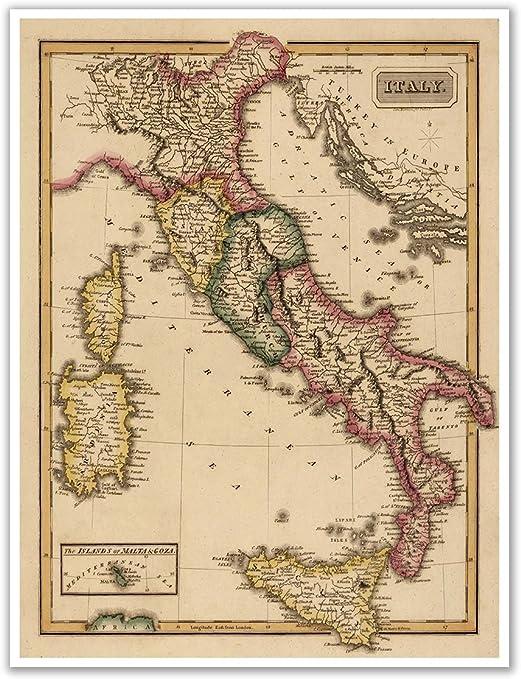 Amazon Com Antiguos Maps Elegant Map Of Italy Circa 1822