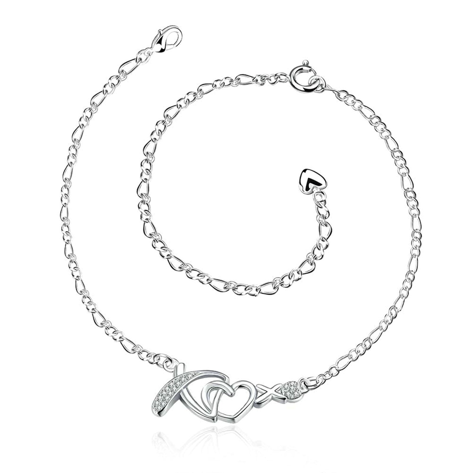 Adisaer Silver Plated Anklet Bracelet 20+10CM Chain Heart Cubic Zirconia Silver Womens Beach Foot Jewelry