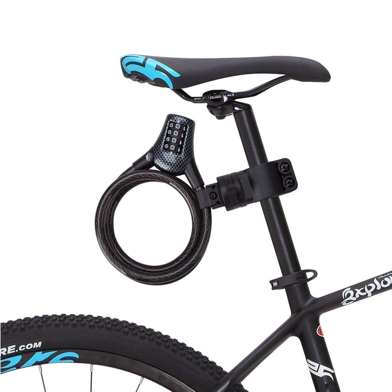 Antirrobo de Bicicleta, Rixow Candado de Bicicleta Alta Seguridad de 4 Dígitos Bloqueo de Cable Trenzado Flexible 10MM de Diámetro.