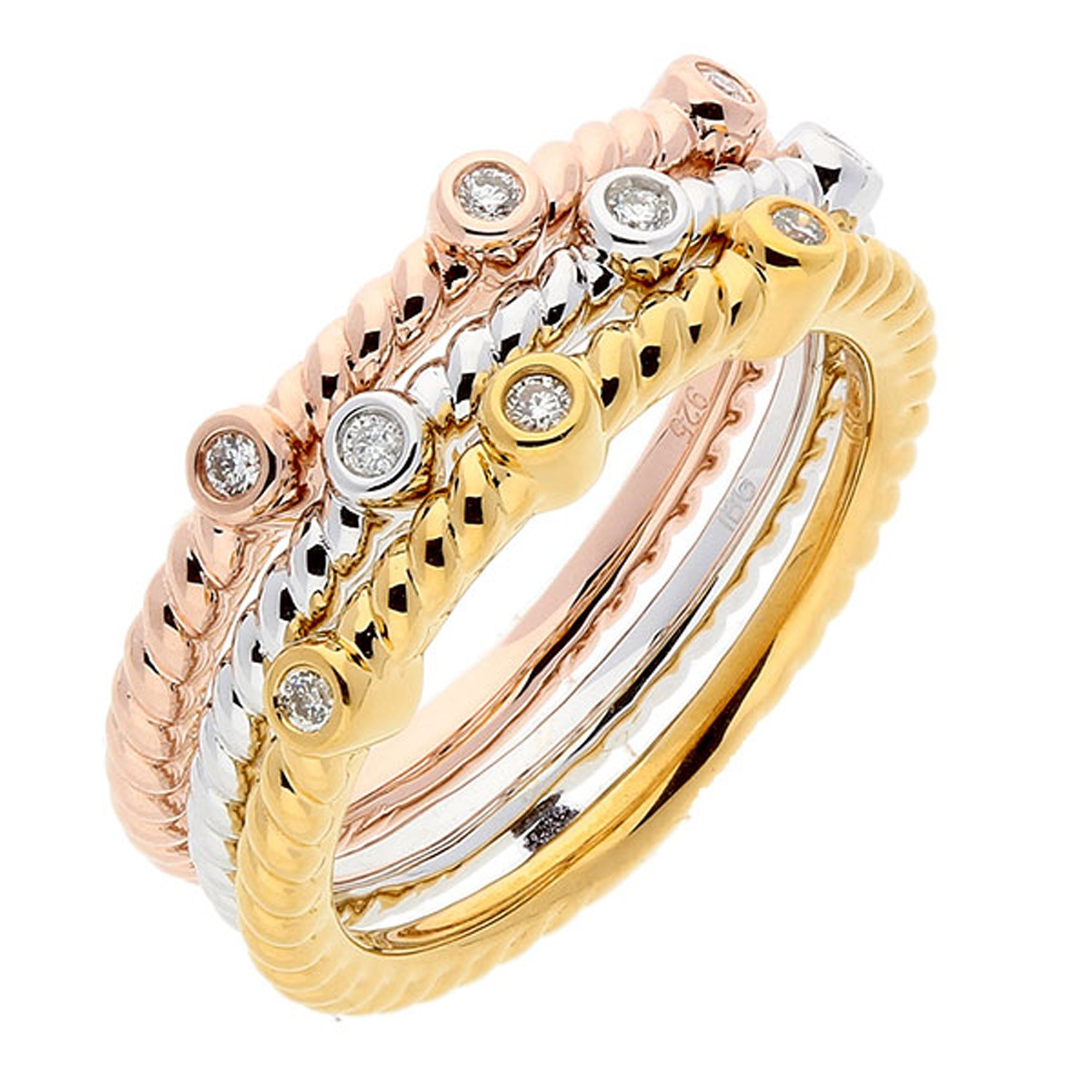 Set Of 3 White, Yellow And Rose Sterling Silver Diamond Accent Stackable Ring (1/10 cttw, I-J Color, I1-I2 Clarity), Size 5