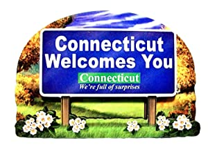 Connecticut State Welcome Sign Wood Fridge Magnet