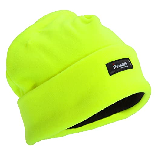 bcdb68a125e Floso Mens Hi Vis Thermal Fleece Winter Beanie Hat (3M 40g) (One Size) (Neon  Yellow) at Amazon Men s Clothing store