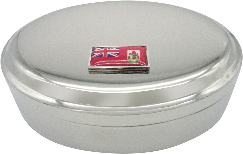 Thin Bordered Barbados Flag Pendant Oval Trinket Jewelry Box