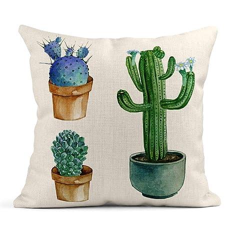 Kinhevao Cojín Cactus Verde Acuarela Suculenta y Maceta de ...