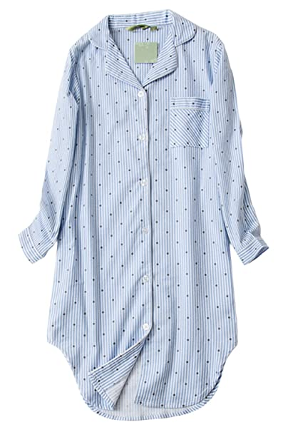 8a5766960 Asherbaby Womens Stripes Print Sleepshirt Button-up Shirt Dress Lounge  Sleepwear Blue US XS/