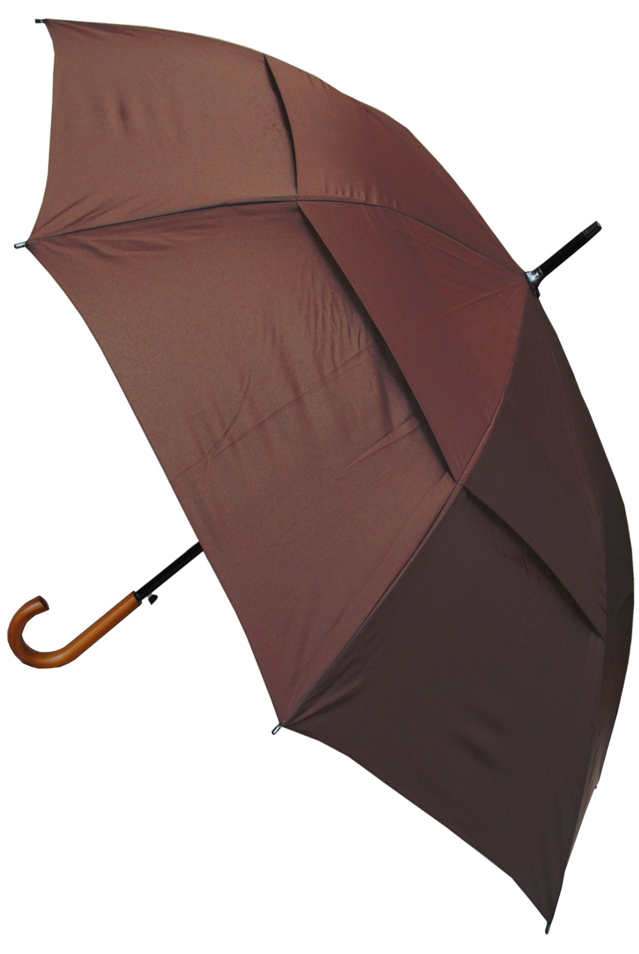 COLLAR AND CUFFS LONDON - Windproof EXTRA STRONG - City Umbrella - Vented Canopy - Auto - Solid Wood Hook Handle - Brown