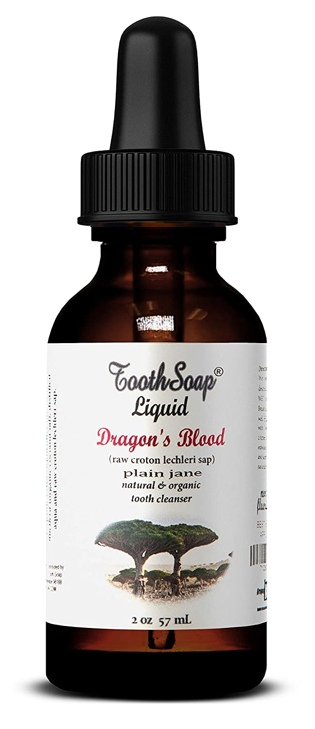 Tooth Soap – Dragon's Blood Plain Jane Liquid – 2 oz – All Natural, Fluoride-Free Tooth & Gum Cleaner – Enhanced with Organic Coconut & Extra Virgin Olive Oil with Essential Oils