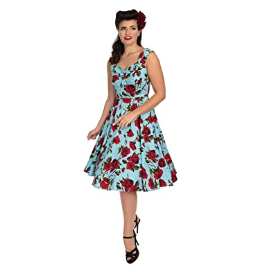 59c087d284d1 Hearts & Roses London Blue and Red Floral Vintage Retro 1950s Flared Tea  Dress 10