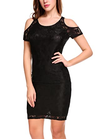 Meaneor Women Cold Shoulder Lace Dress Elegant Bodycon Midi Party
