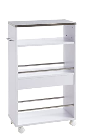 hot-stock - Carro Auxiliar de Cocina con Ruedas (Madera y Metal), Color Blanco: Amazon.es: Hogar