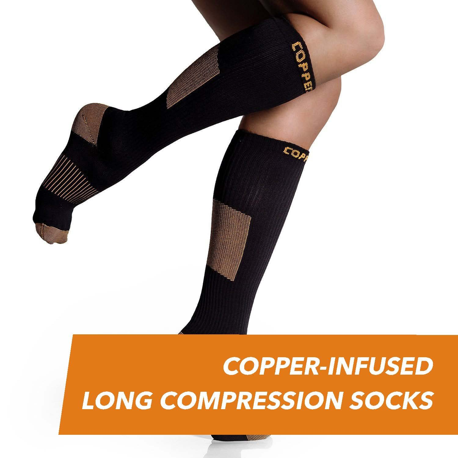 6704de8987 CopperJoint - Copper-Infused Long Compression Socks, Comfortable and  Durable Design Promotes Blood Circulation in Feet and Legs for All  Lifestyles, Pair