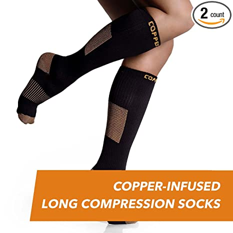 06e601f80159cb CopperJoint - Copper-Infused Long Compression Socks, Comfortable and  Durable Design Promotes Blood Circulation