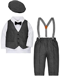 Zoerea 4 Pezzi Bambini Ragazzi Abbigliamento Set Blazer + Pants + Gilet +  Berretto Outfit del ec708962095