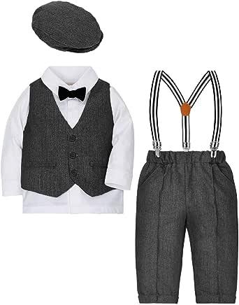 ZOEREA Bebé Chicos Conjunto de Conjunto Page Boy Trajes 4 Piezas Chaleco + Camisa + Pantalones + Chaqueta de la Boina Caballeros Boda Bautizo Conjuntos de Ropa