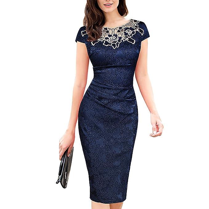 Dolamen Mujer Cordón Vestidos, Cuello redondo Vintage y estilo retro, vestido apto delgado del