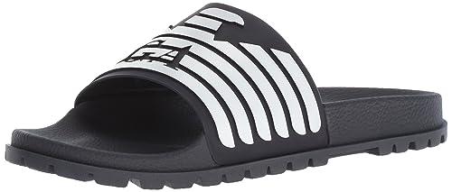 182567224e9 Emporio Armani Men s Open Toe Logo Sandal Slipper Black  Amazon.co ...