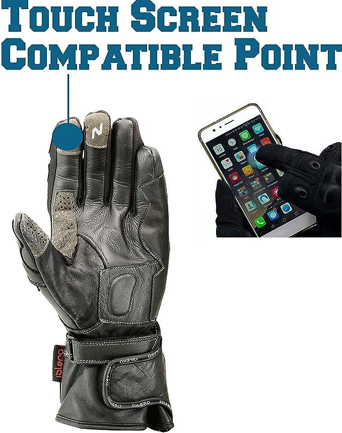 antivento e impermeabili con nocche in fibra di carbonio guanti per moto professionali in pelle Islero