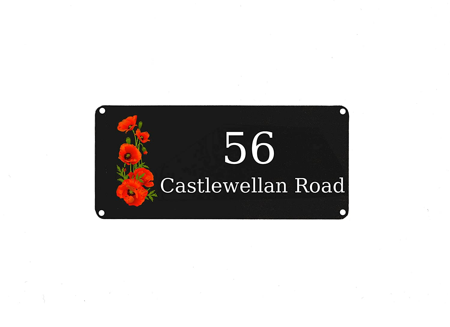 "Personalised Aluminium Metal Poppy Red Signs Door Plaque House Number Street (5x7"" Rounded Corners)"