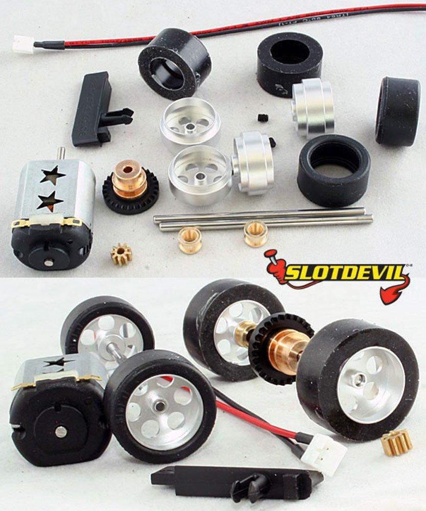 Slotdevil Carrera Tuningkit C5 f/ür Hinter und Vorderachse mit Gleitlagern PU-Reifen und Tuning-Motor