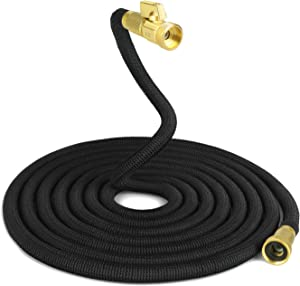 IPSXP Garden Hose, 50ft 15M Expandable Water Hose with Durable Double Latex Core, 3/4 Inch Solid Brass Connector, Best Abrasion Resistance High-Pressure Resistance for Car, Pet, Flower, Plant