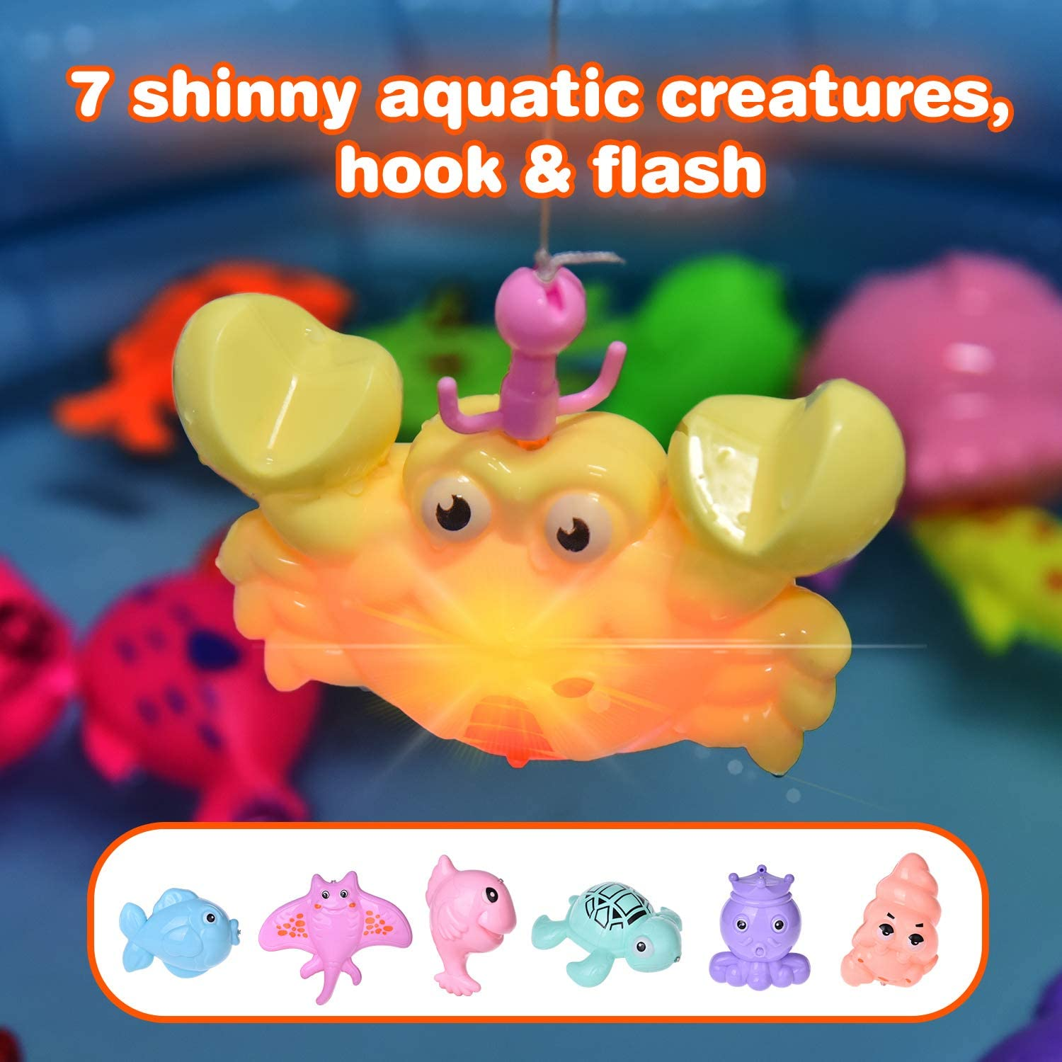 2 Fishing Rodes 29 Fishes and 7 Sea Animals with Light 42PCs Magnetic Fishing Toys with 11 Inch Fishing Pool Toddler Bath Toys Water Toys Fishing Game for Kids