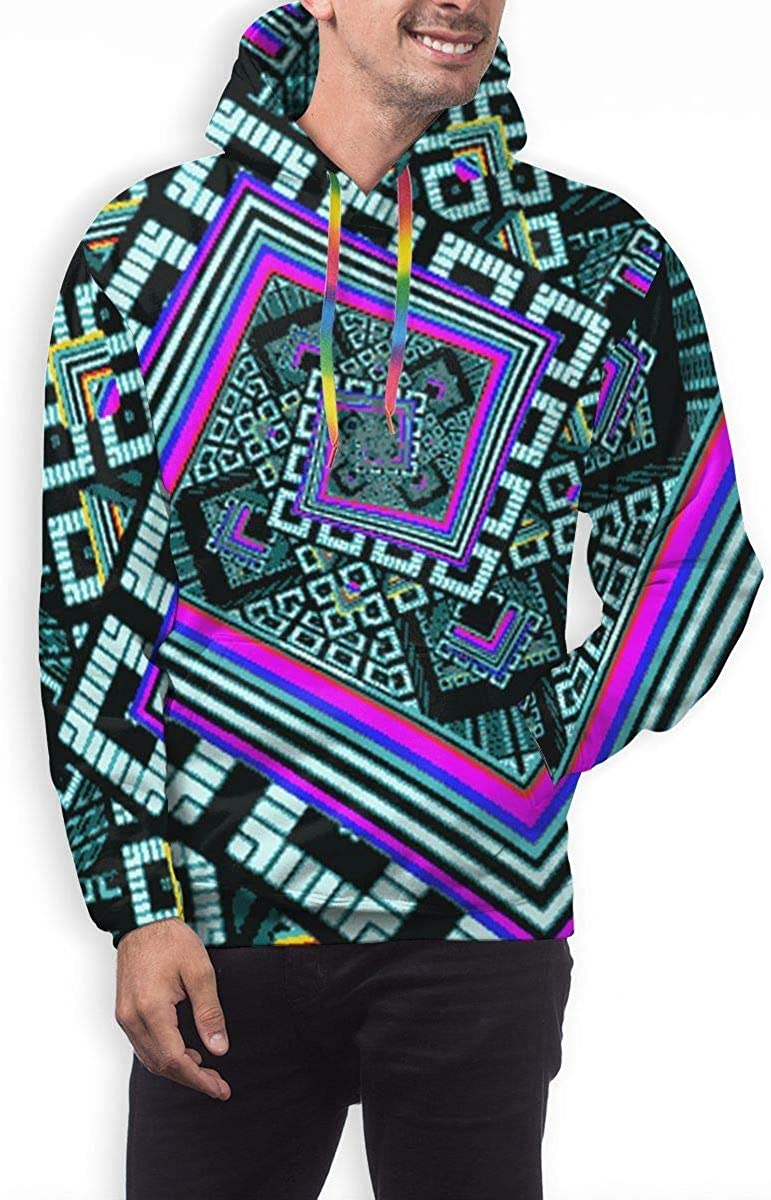 GUAHUAXIANG Casual Pullover Hoodie Hooded Sweatshirt for Mens Kaleidoscope Trippy Acid