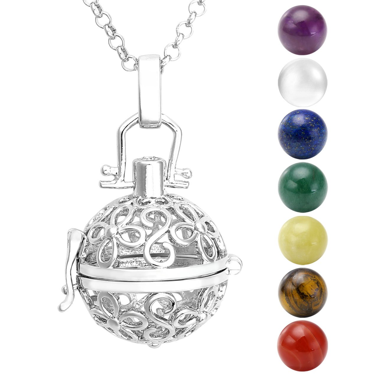 Healing crystal necklace amazon jsdde hollow flower locket pendant 7 chakra natural beads healing crystal gemstones necklace aloadofball Choice Image
