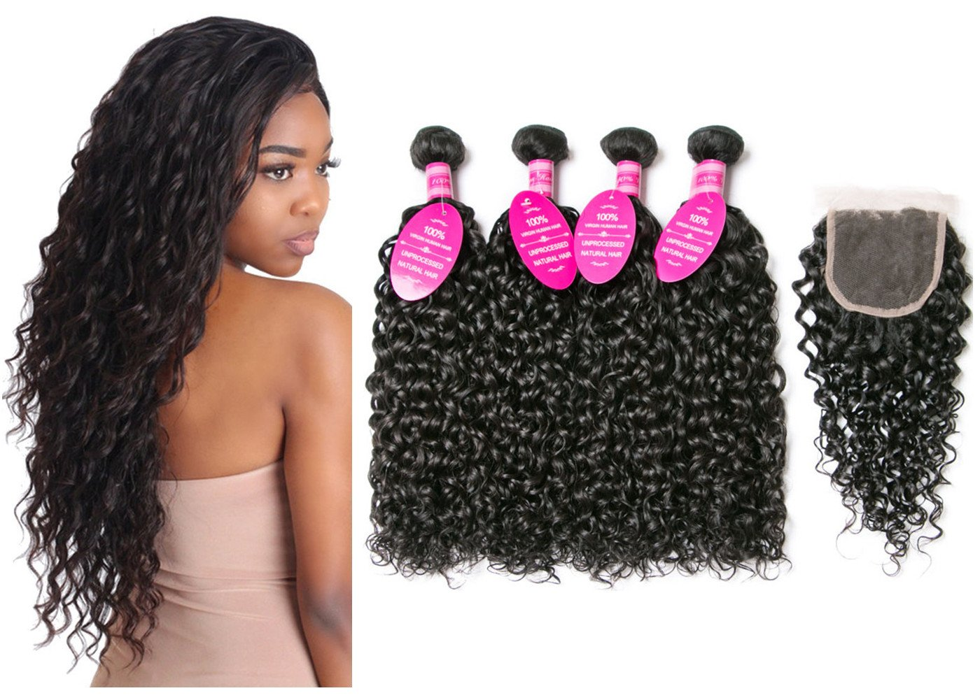 Brazilian Virgin Hair 4 Bundles with Closure Water Wave Hair Bundles with 4x4 Free Part Closure Unprocessed Virgin Human Hair (20 22 24 26 with 18, Natural Color)