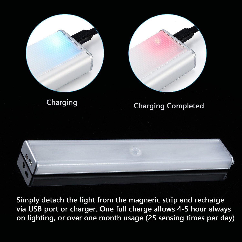 Kohree lámpara LED Cabina recargable Sensor de movimiento luz de noche fuego de emergencia adhesiva inalámbrico portátil para caseta armario cabina Comptoir ...