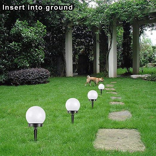 Luz Solar para Jardín - Paquete De 4 Luz Blanca Luz De Césped De Bola Redonda Accionada
