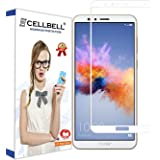 CELLBELL Huawei Honor 7X(Full Glue)(EGDE to Edge)(White) Tempered Glass Screen Protector with Free Installation Kit