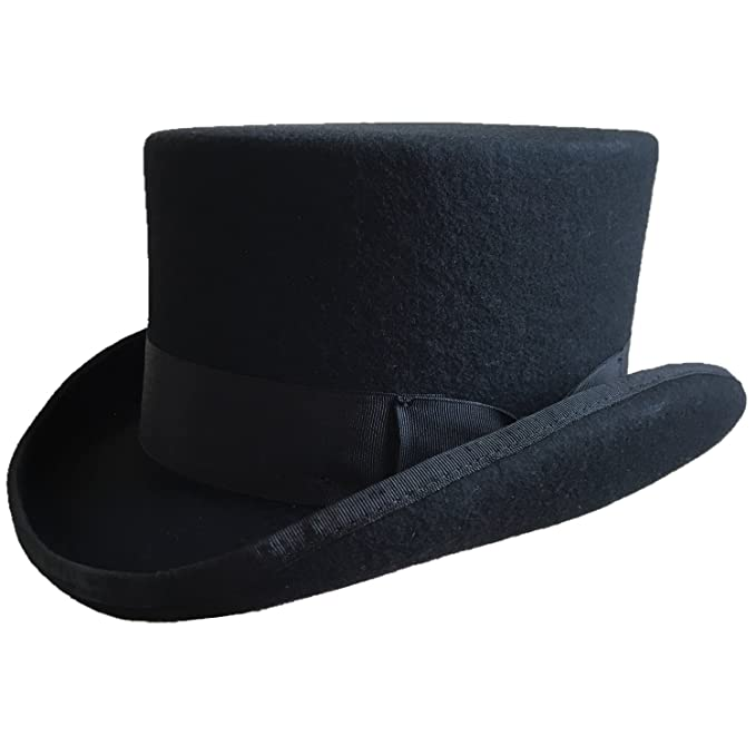 914c6c7bf Black Wool Felt Low Short Top Hat Victorian Mad Hatter Topper Hats Women Men