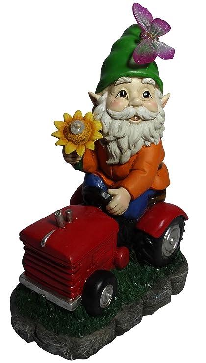 Amazon.com: Alpine Solar gnomo de bienvenida en tractor con ...