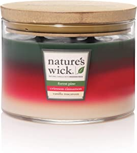 Nature's Wick Multi Scent 3 Wick Scented Candle|Forest Pine/Crimson Cinnamon/Vanilla Macaroon Trio Jar Candle|Wood Candle Wick 18 oz. Glass Jar Candle