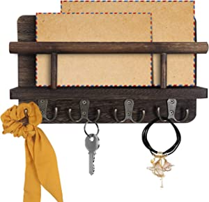 Eurlemd Mail Sorter Organizer Wood Key Holder Organizer for Wall, Modern Rustic Mail Letter Holder with 4 Key Hook Rack for Entryroom, Mudroom, Hallway, Kitchen, Office, Garage, Dark Brown