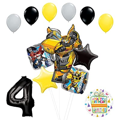 Transformers Mayflower Products Bumblebee 4th Birthday Party Supplies Balloon Bouquet Decorations Toys Games