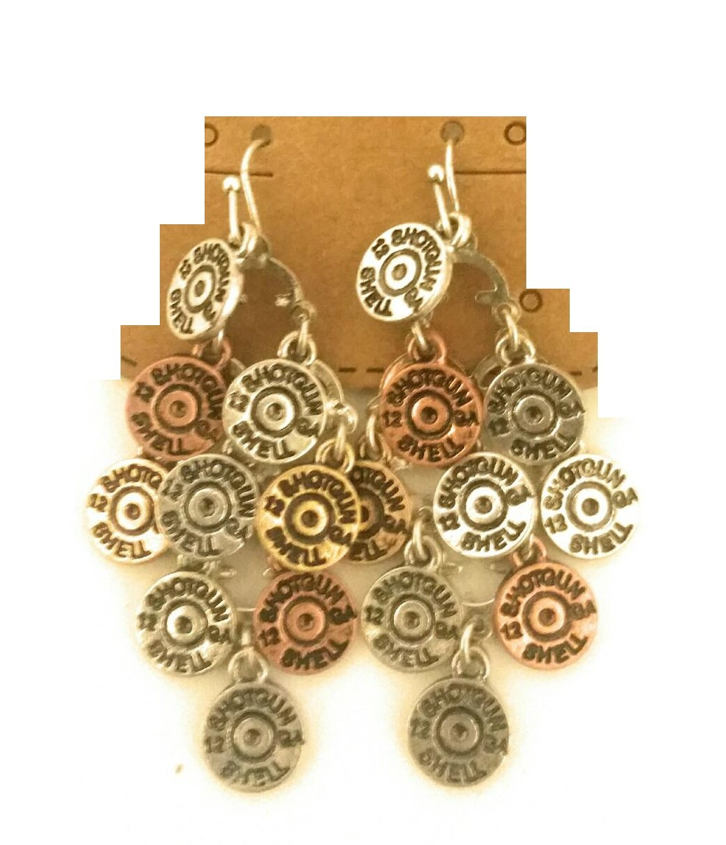 2 Inch Faux 12 GA Gauge Shotgun Shell Bullet Layered Cowgirl Earrings (Copper Gold Silver Tone)