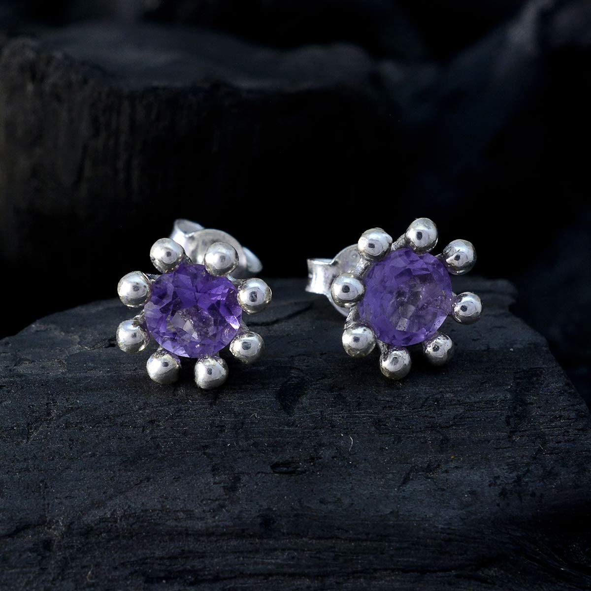 925 Silver Purple Amethyst Good Gemstones Earring RGPL Good Gemstones Faceted Amethyst Earring Jewellery Shops Gift for Anniversary Stacking Earring