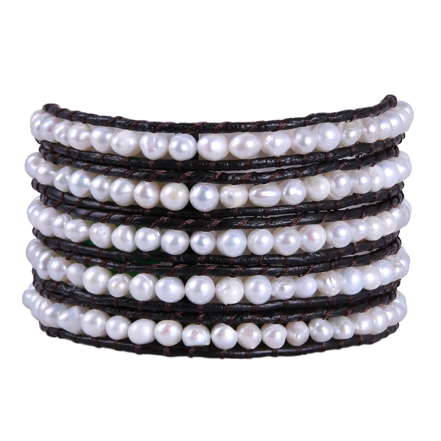 KELITCH Top Shell Pearl Beaded 5 Wrap Bracelet On Natural Leather Summer Jewelry (White)