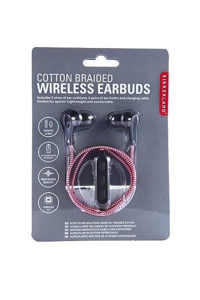 Kikkerland Wireless Cotton Braided Earbuds, Red