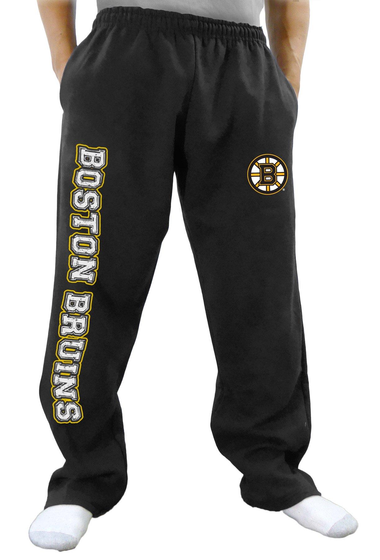 NHL Men's Premium Fleece Official Team Sweatpants (Boston Bruins, Medium)