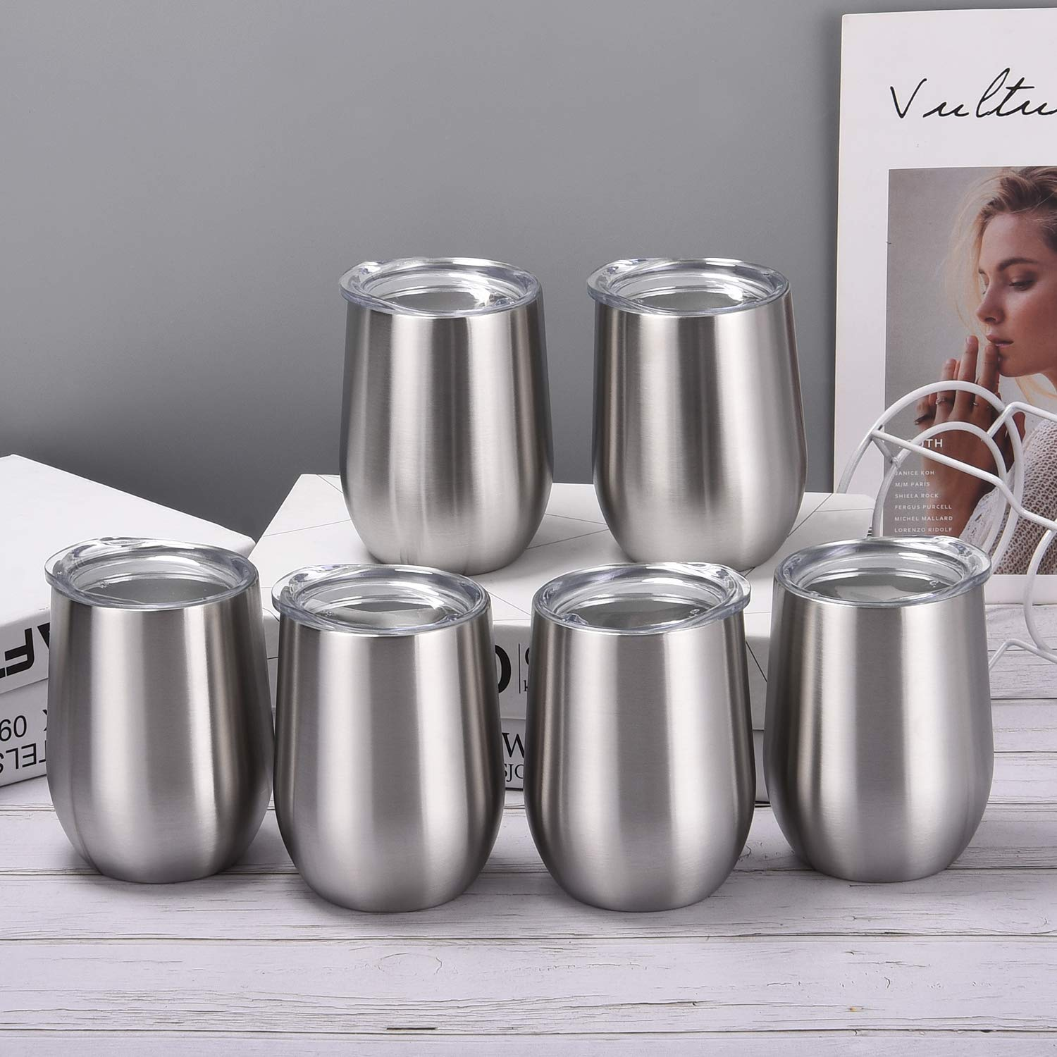 6 Pack 12Oz Stemless Wine Tumbler Wine Glasses Set Stainless Steel Cups with Lid Set of 6 for Picnic Camping Party or Family Daily Use Shatterproof - BPA Free Healthy Choice
