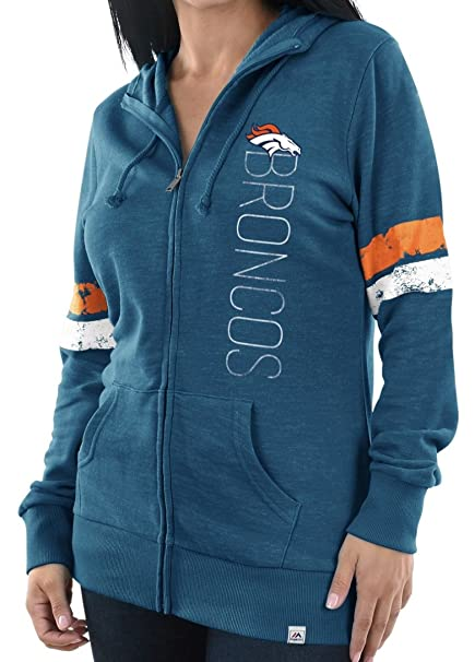 149f8cef627 Majestic Denver Broncos Womens Athletic Tradition Slouch Neck Full Zip  Hoodie (Small)
