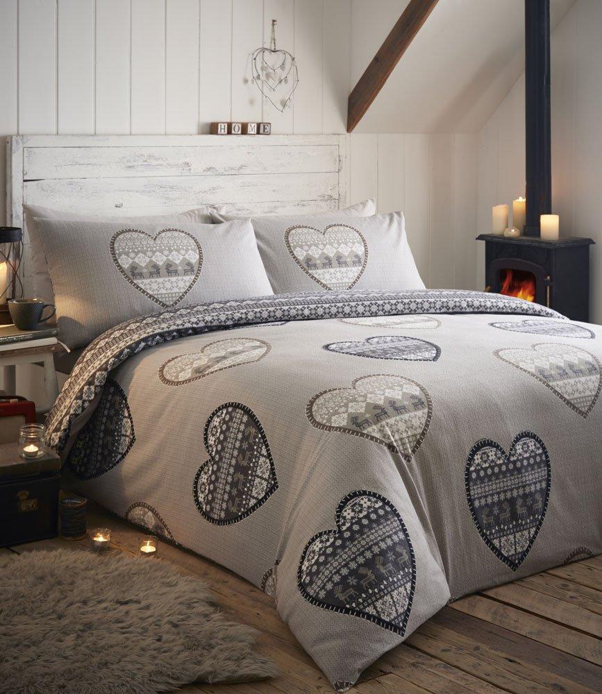 Flannelette Duvet Sets Warm & Cosy Brushed Cotton Bedding (Double, Charcoal) Cozynites
