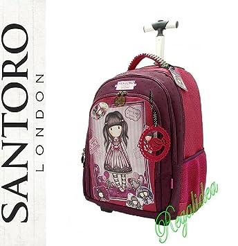 Carro mochila escolar Gorjuss Santoro London Fucsia Rosa 2017 y 2018: Amazon.es: Deportes y aire libre