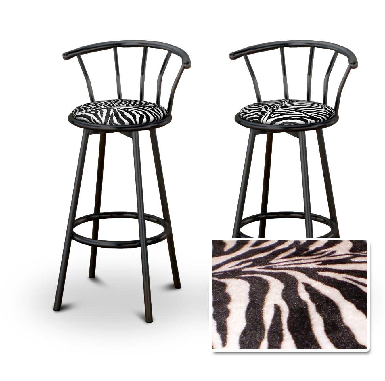 2 Animal Zebra Print Black Swivel Barstools
