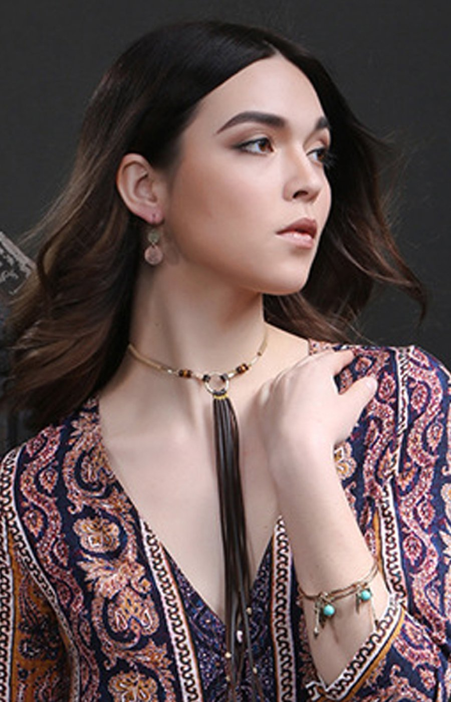Kercisbeauty Summer Beach Boho Halo Silver Choker with Beads Brown Cloth Long Chain Rope Tassels Necklace for Women and Girls,Body Jewelry,Gift for her,Birthday Anniversary Gift,Party,teen girls