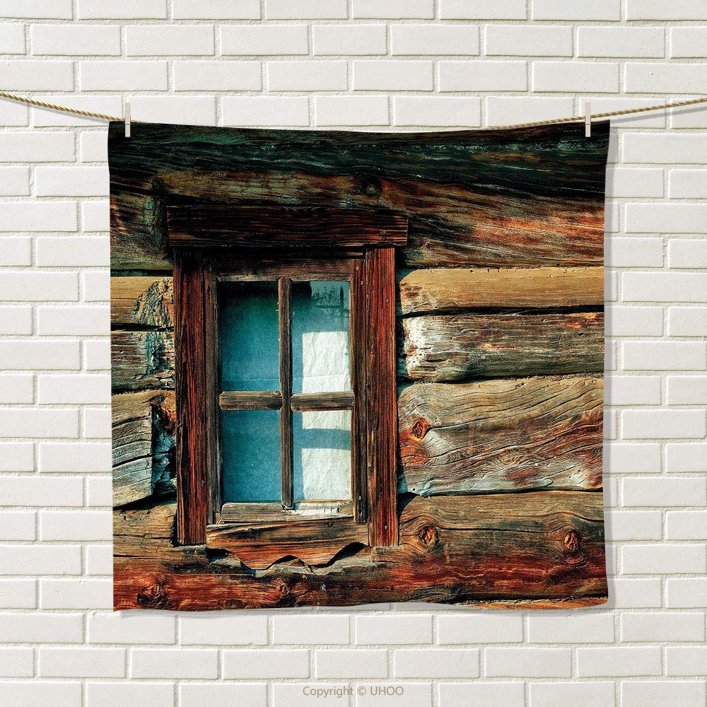 smallbeefly Scenery Hand Towel Single Window with White Curtain on a Wooden Background Lumberjack House Photo Quick-Dry Towels Brown and Blue Size: W 20'' x L 26''
