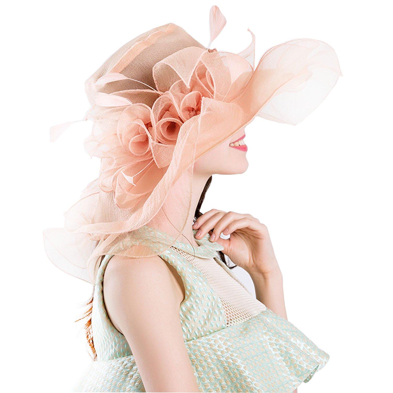 MiGer Women Foldable Organza Church Kentucky Derby Hat for Tea Party Wedding (Peach 2)