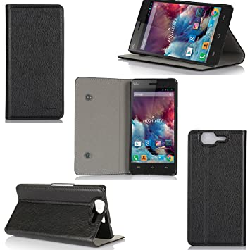 release date get new various styles Etui luxe Wiko Highway / Highway 4G noir Ultra Slim Cuir Style avec stand -  Housse Folio Flip Cover coque de protection Wiko Highway Dual Sim noire ...
